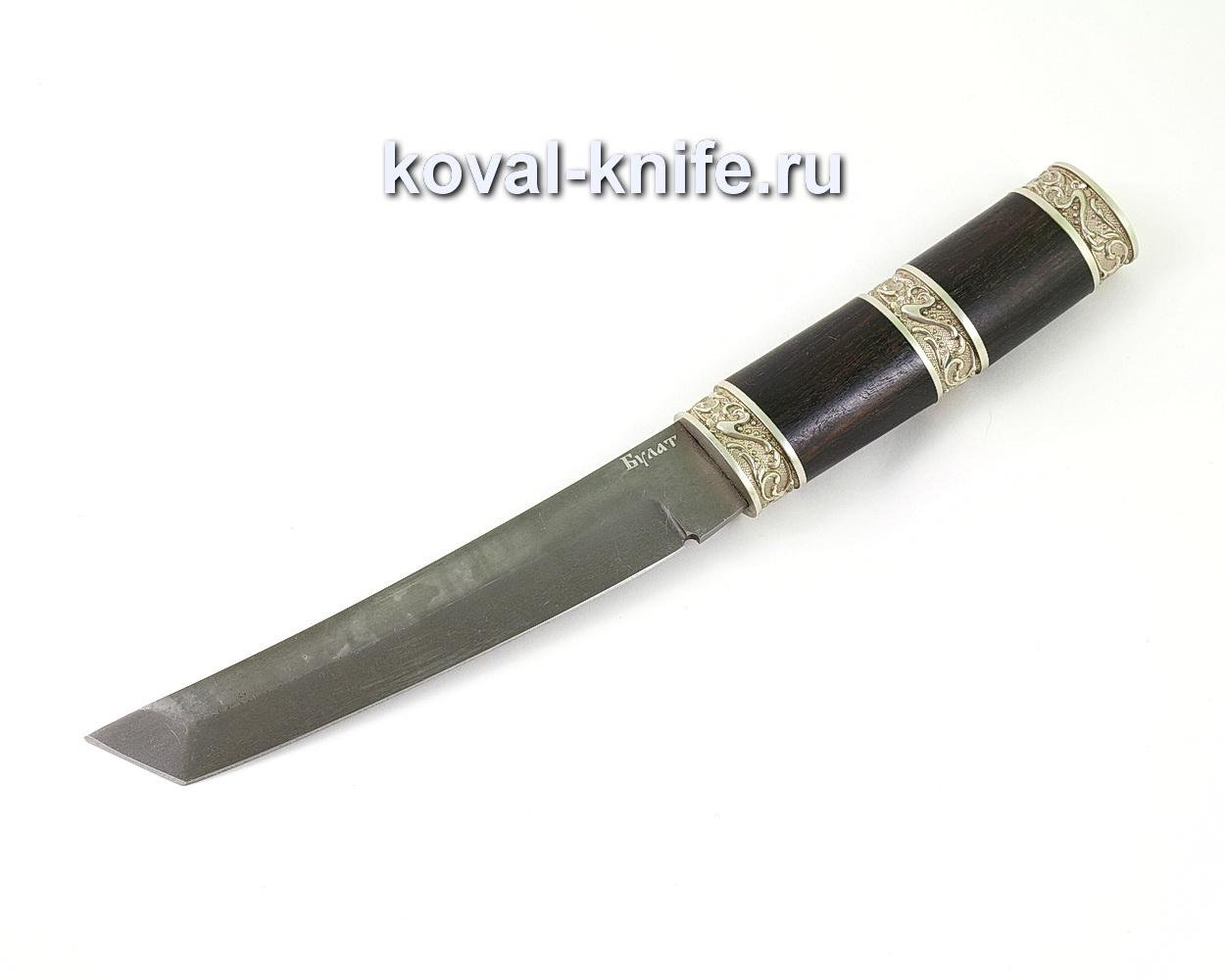 Нож из булатной стали Танто (Легированный булат, рукоять граб, литье мельхиор) A457