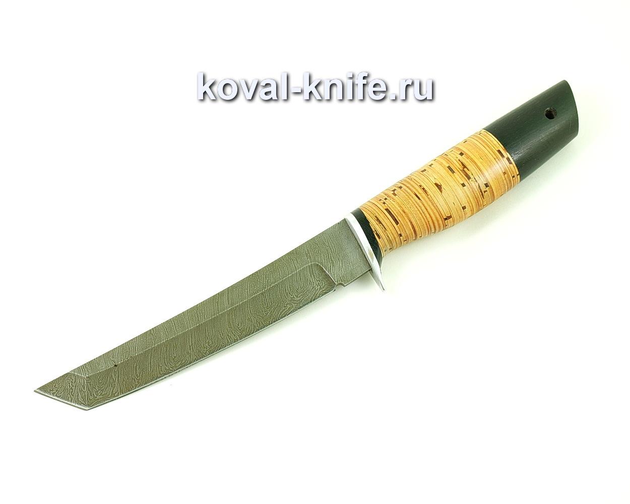 Нож из дамасской стали Танто (рукоять береста и граб) A489