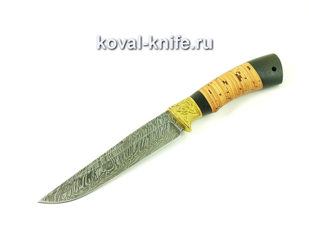 Нож из дамасской стали Лис (рукоять береста и граб) A491