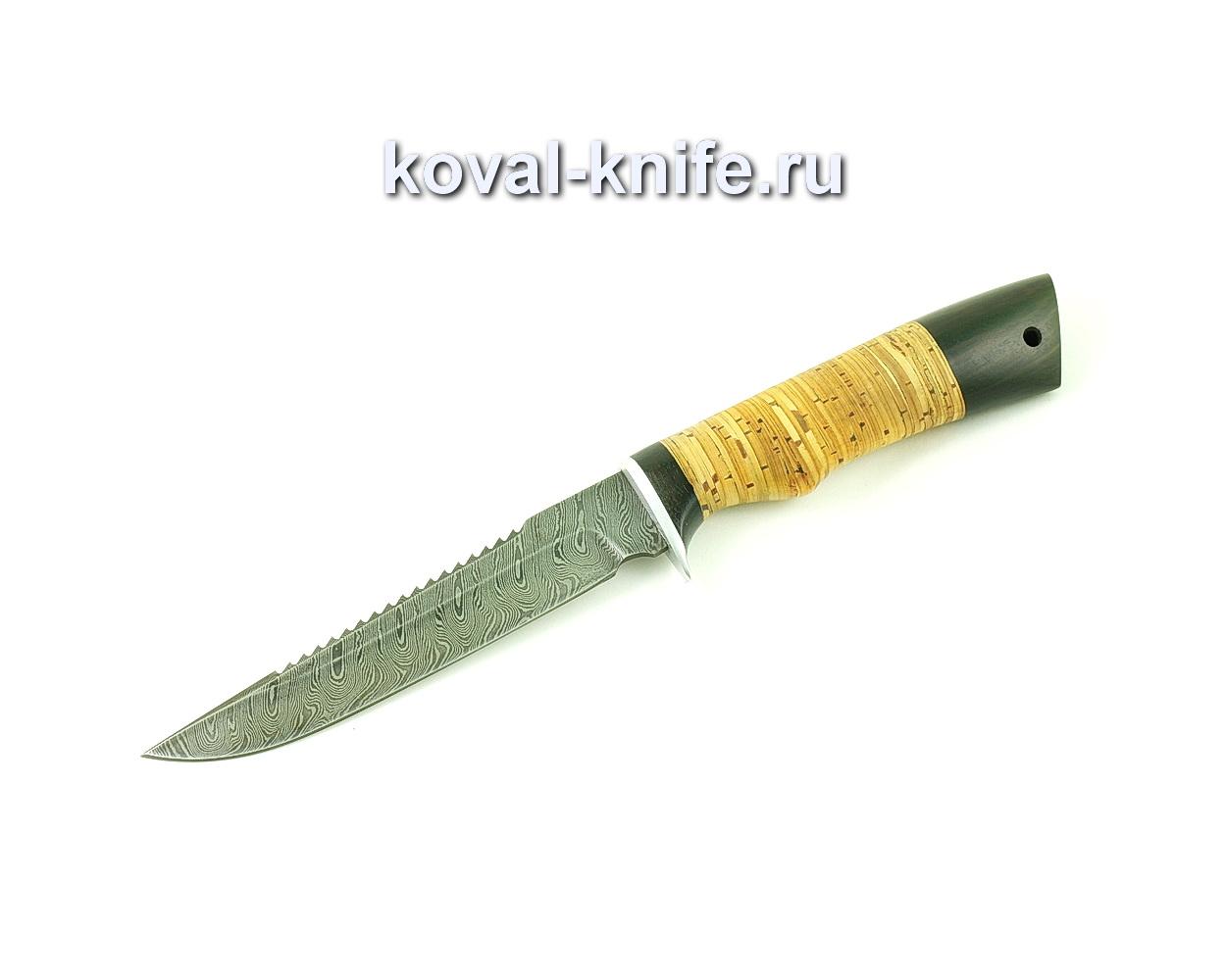 Нож из дамасской стали Рыбак (рукоять береста и граб) A492