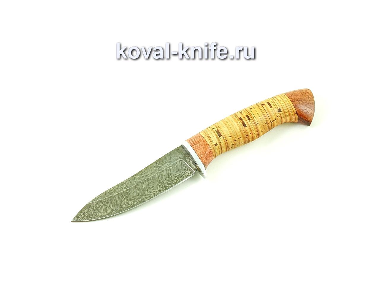 Нож из дамасской стали Лань (рукоять береста и бубинга) A495