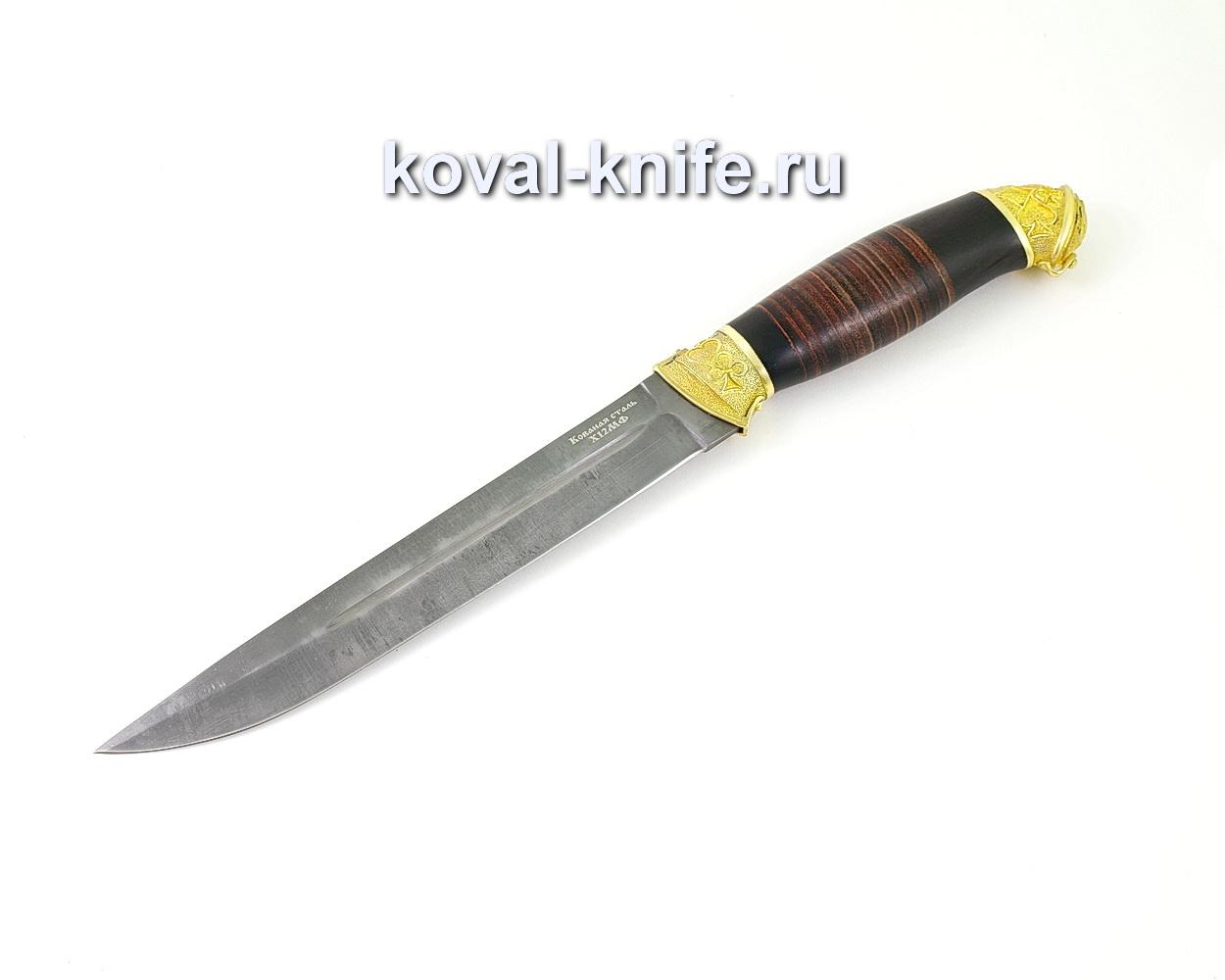 Нож из кованой стали Х12МФ Пластун (рукоять кожа и граб, литье латунь) A500