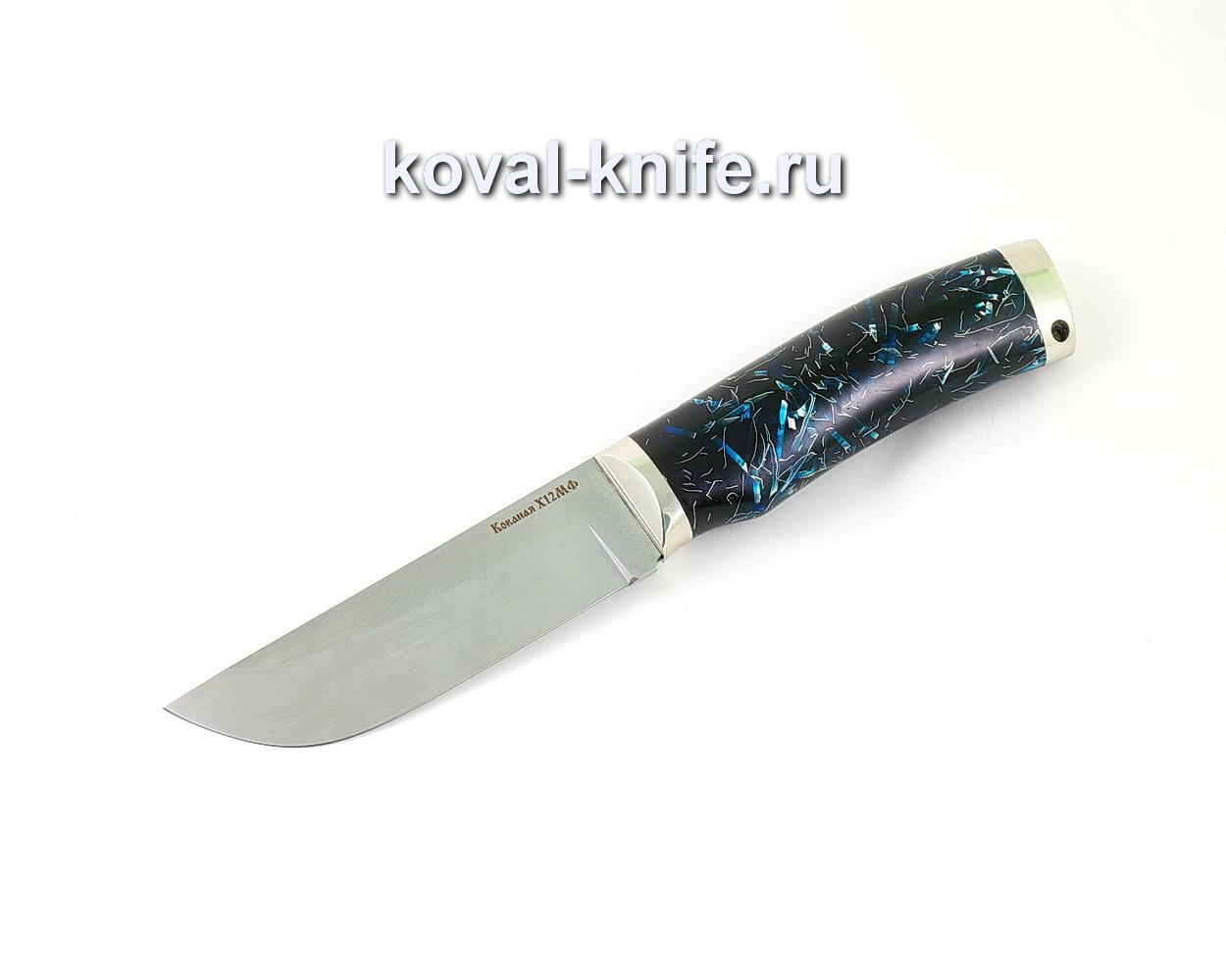 Нож из кованой стали Х12МФ Пегас (рукоять композит, литье мельхиор) A503