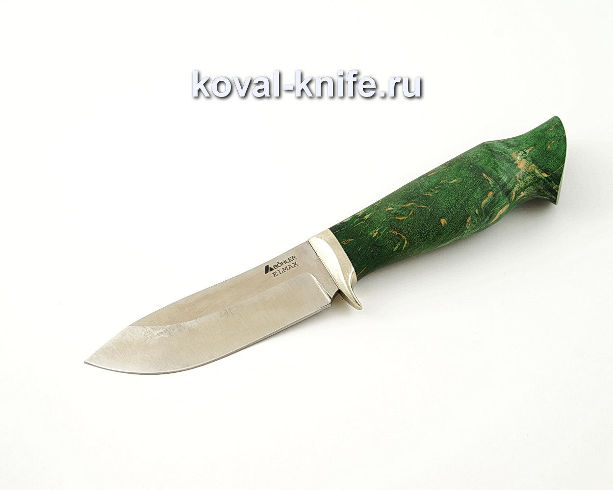 Нож Кабан из порошковой стали Elmax с рукоятью из стабилизированной карельской березы, гарда мельхиор A529