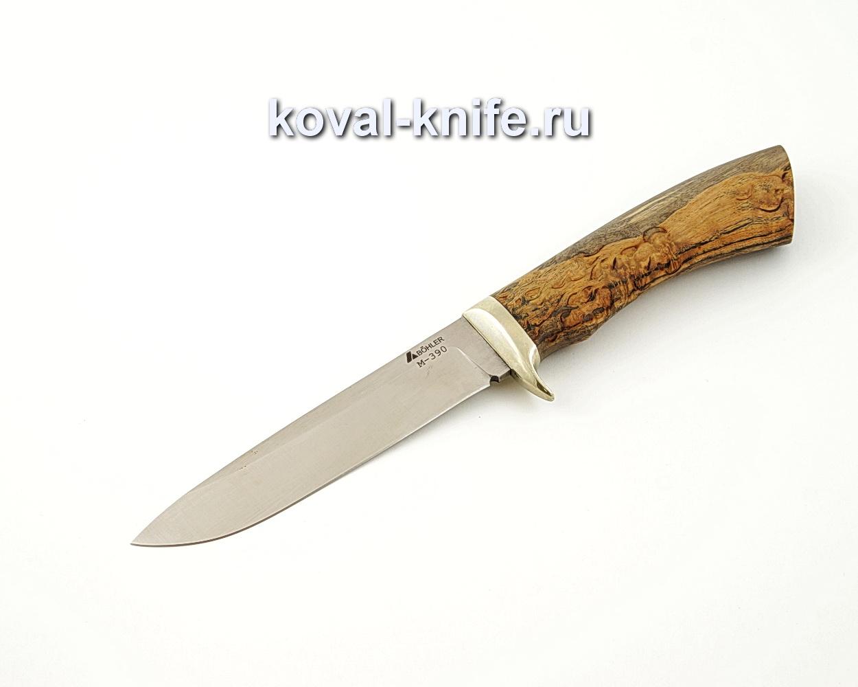 Нож Турист из порошковой стали М390 с рукоятью из стабилизированной карельской березы, гарда мельхиор A530