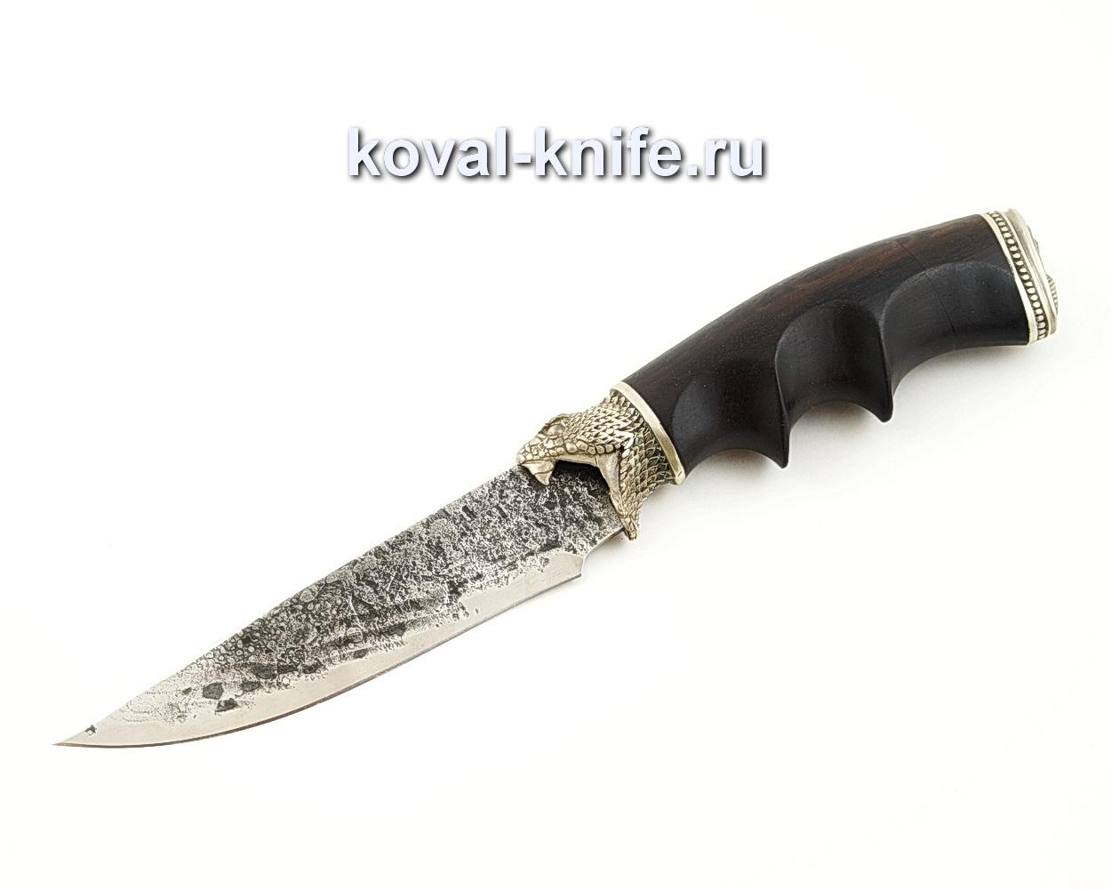 Нож Лис из кованой стали 9ХС с рукоятью из черного граба, литье на ноже — мельхиор A532