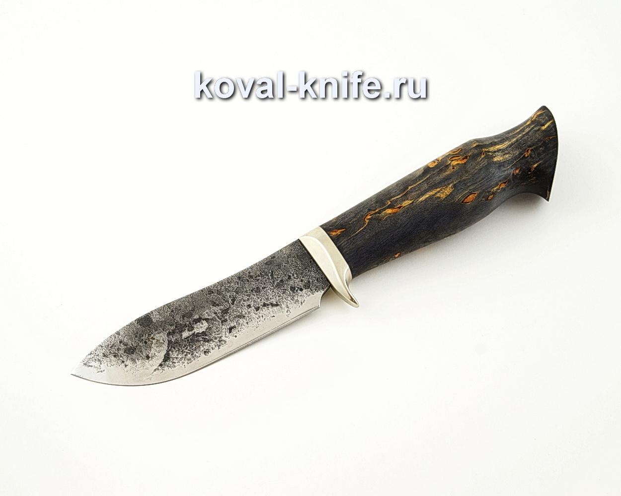 Нож Кабан из кованой стали 9ХС с рукоятью из стабилизированной карельской березы, гарда мельхиор A533