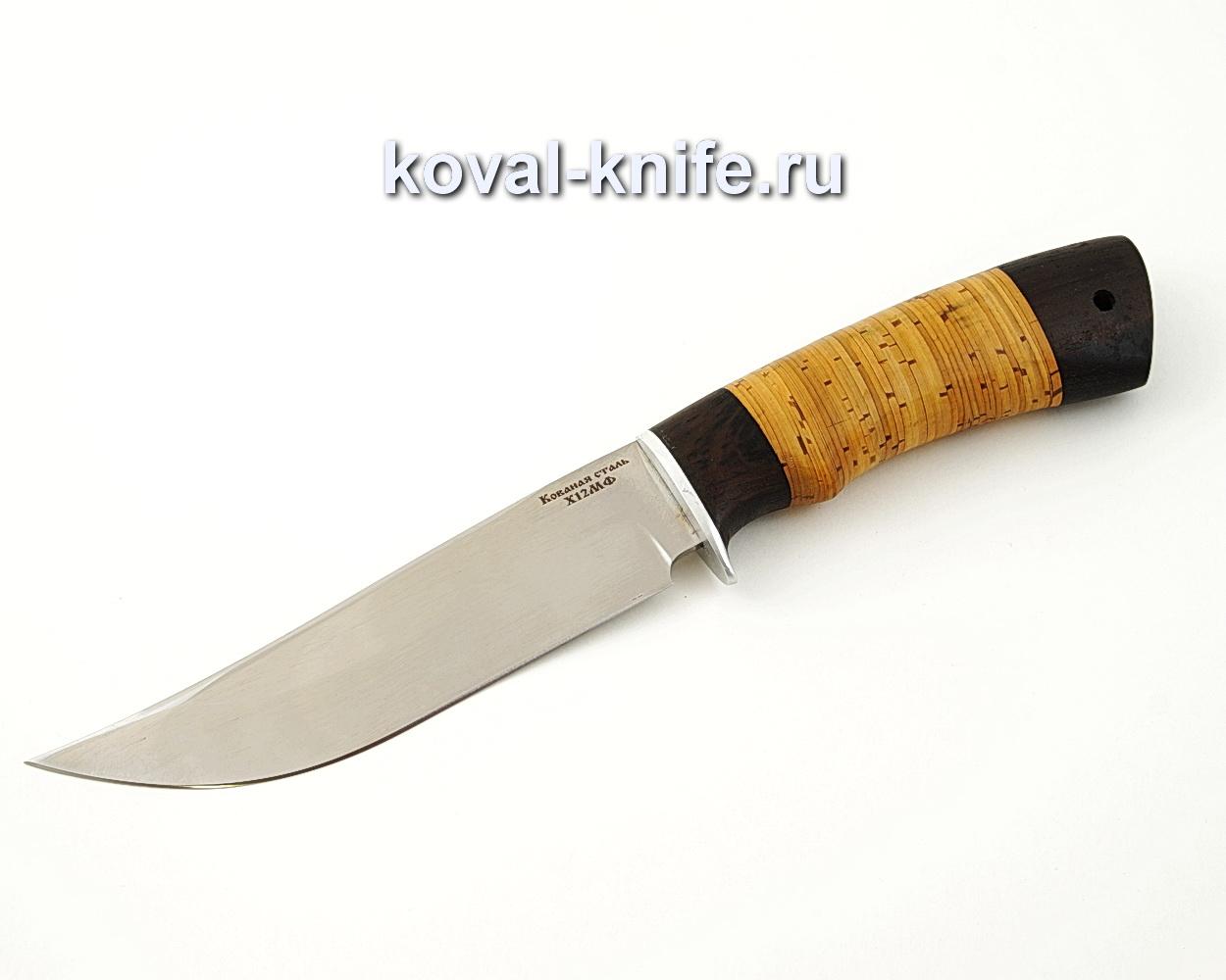 Нож Клыч из кованой стали Х12МФ с рукоятью из бересты и черного граба A537