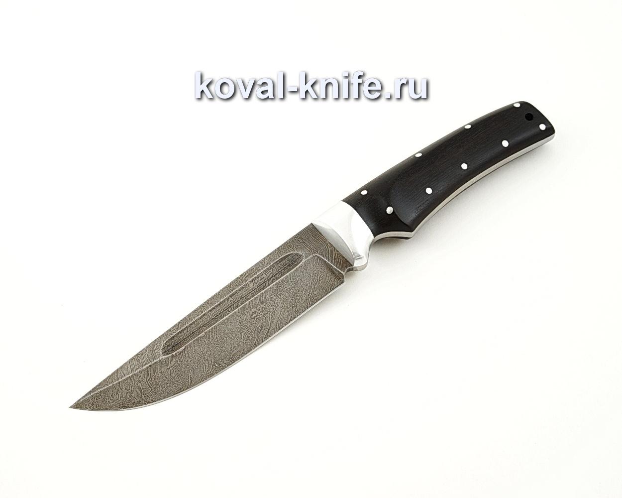 Нож Лис цельнометаллический из дамасской стали с рукоятью из граба A539
