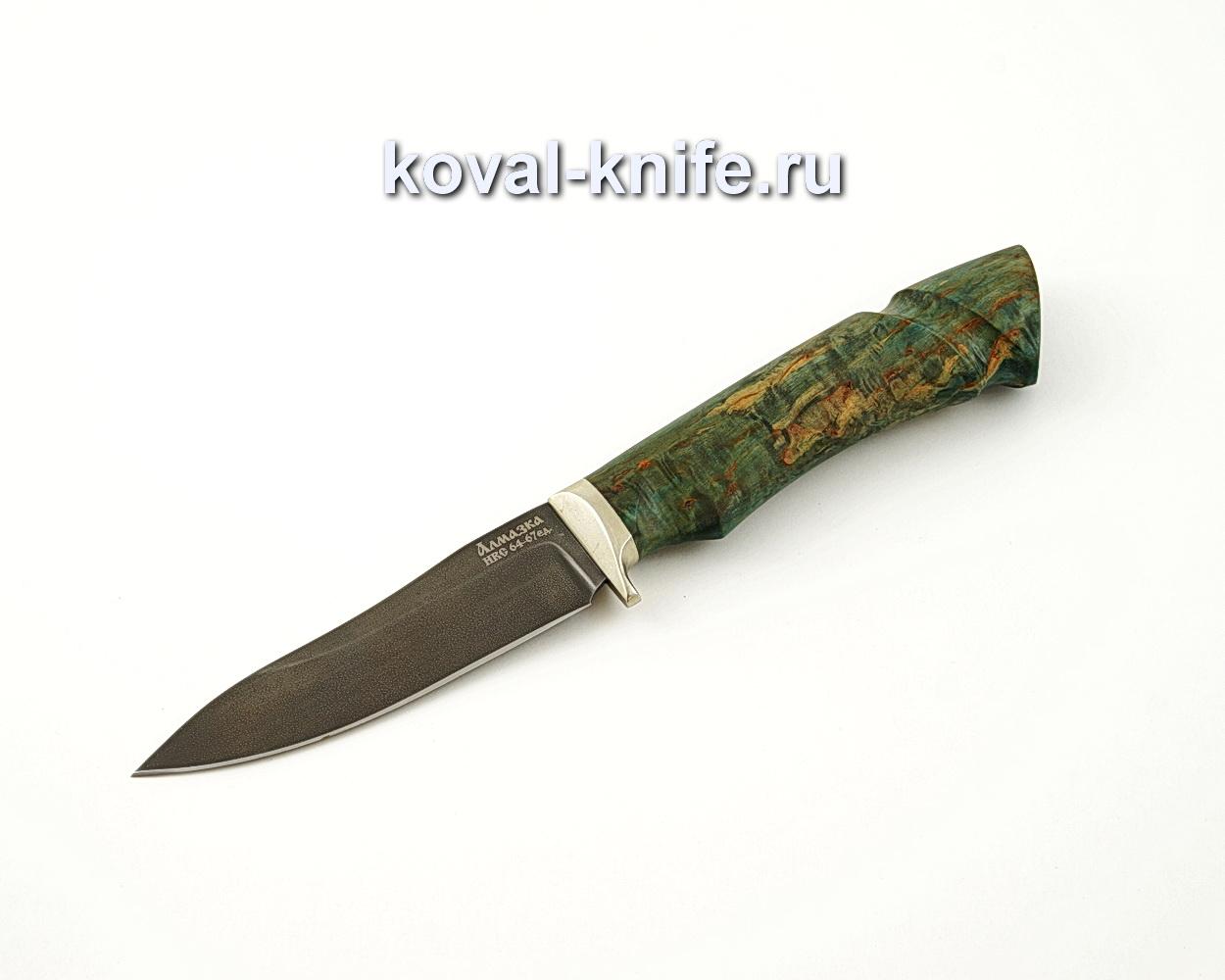 Нож Лань из алмазной стали ХВ5 с рукоятью из стабилизированной карельской березы, гарда мельхиор A540