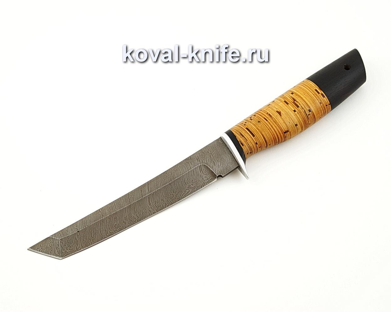 Нож Танто из дамасской стали с рукоятью из бересты и черного граба A544