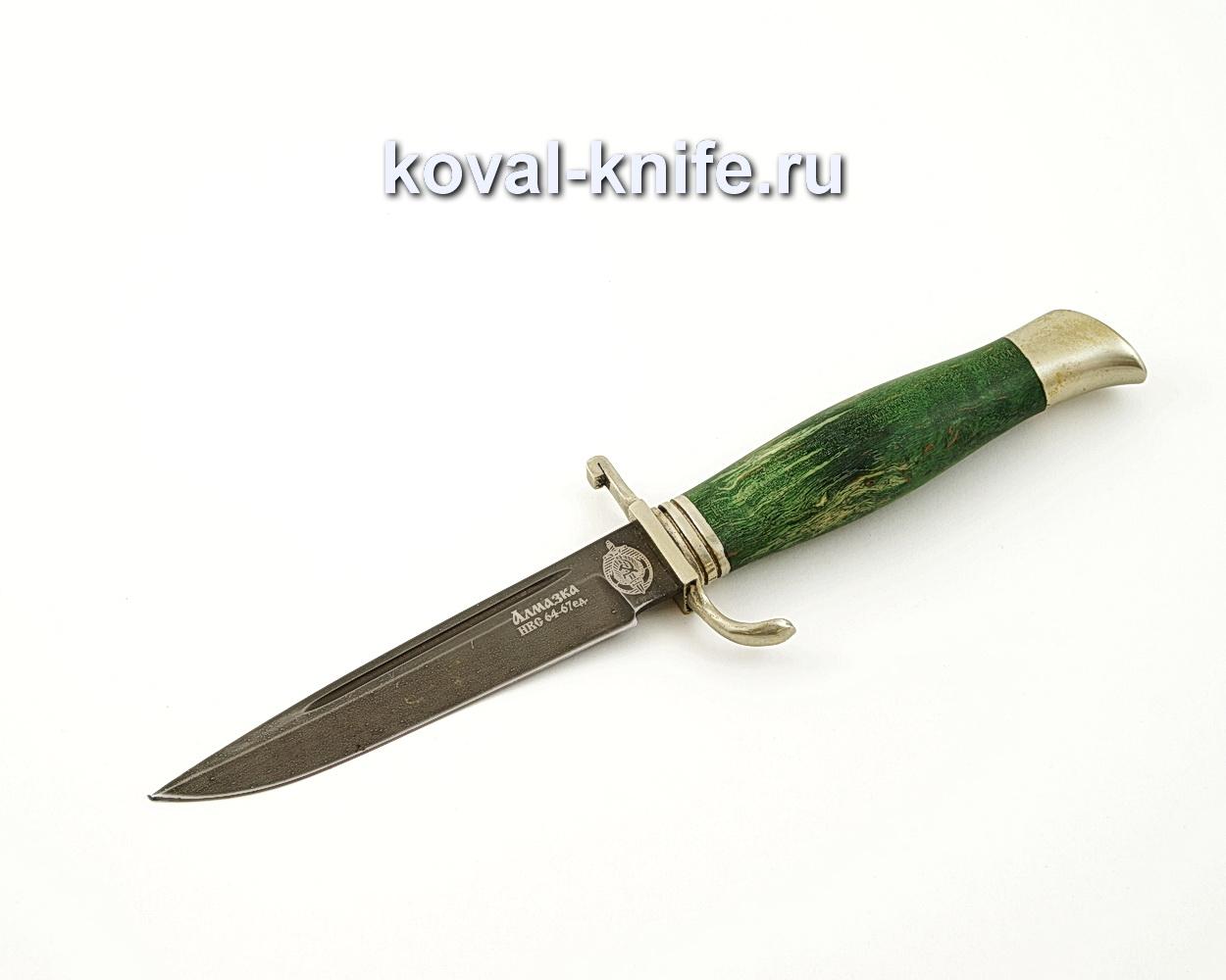 Нож Финка НКВД из алмазной стали ХВ5 с рукоятью из стабилизированной карельской березы, литье мельхиор A546