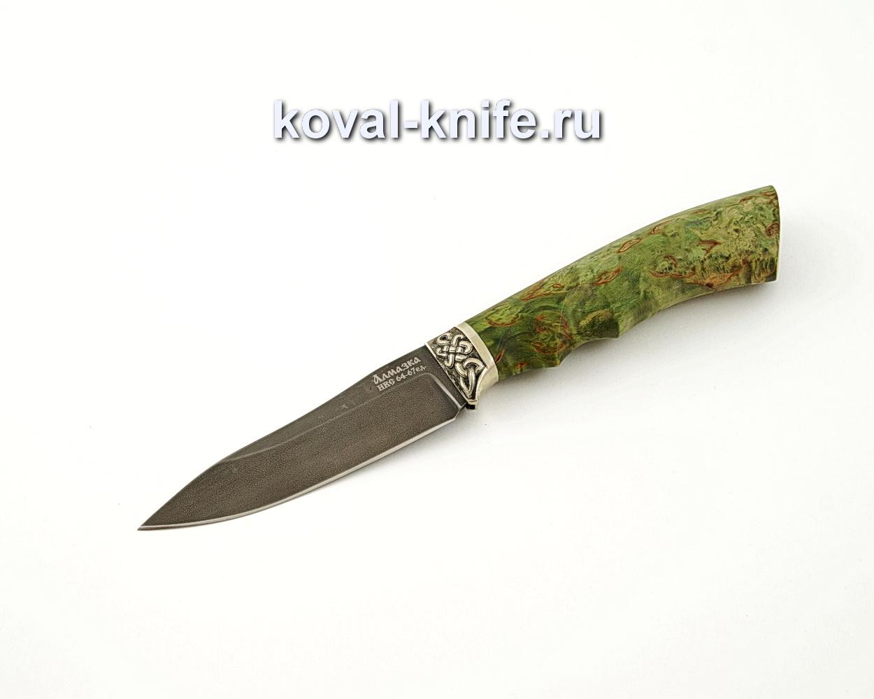 Нож Лань из алмазной стали ХВ5 с рукоятью из стабилизированной карельской березы, притин мельхиор A548