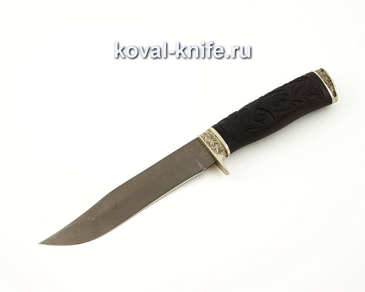 Нож Викинг из кованой стали Х12МФ с резной рукоятью из черного граба, литье мельхиор A551