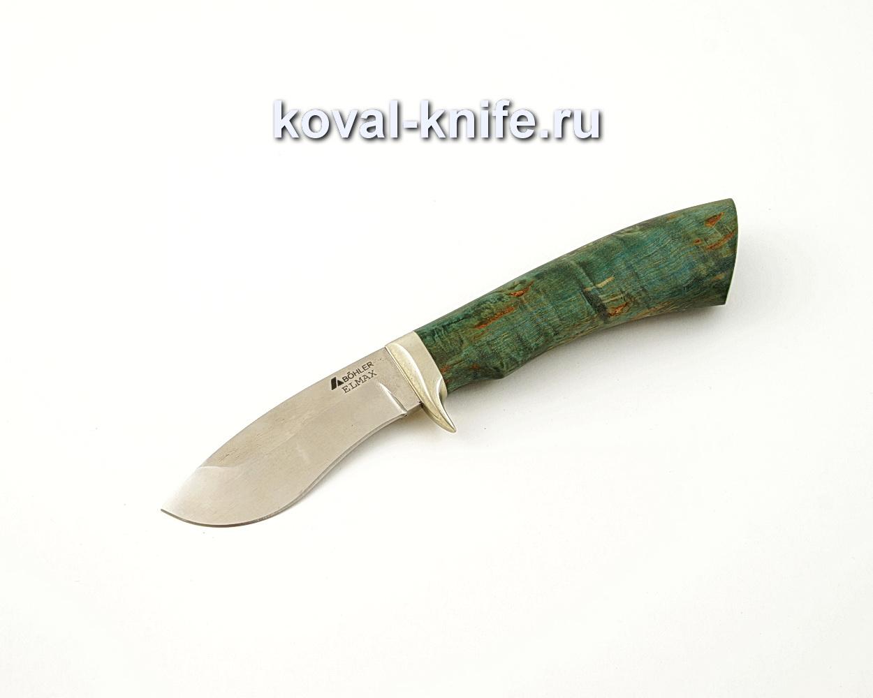 Нож Носорог из порошковой стали Elmax с рукоятью из стабилизированной карельской березы, гарда мельхиор A554