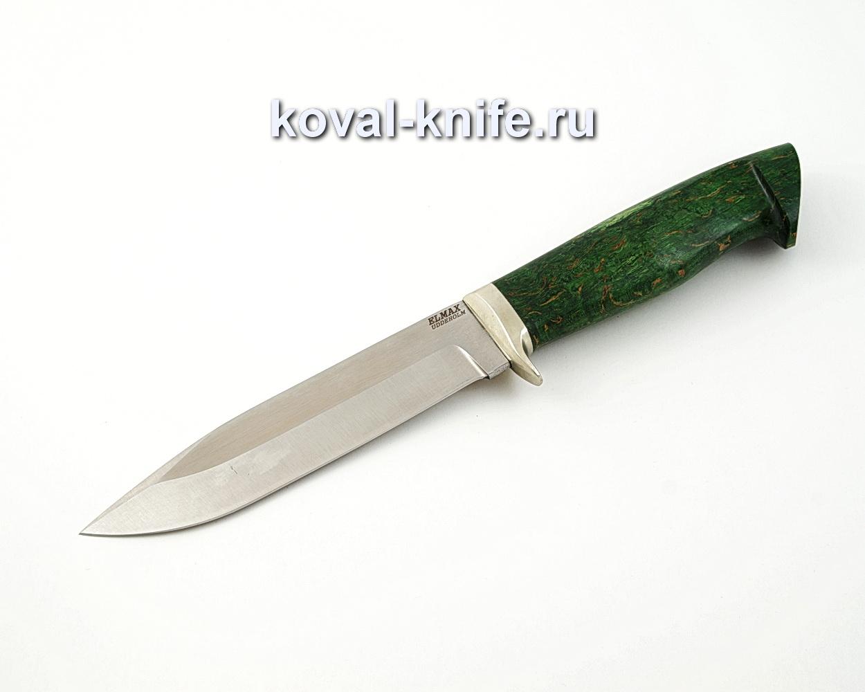 Нож Олимп из порошковой стали Elmax с рукоятью из стабилизированной карельской березы, гарда мельхиор A558