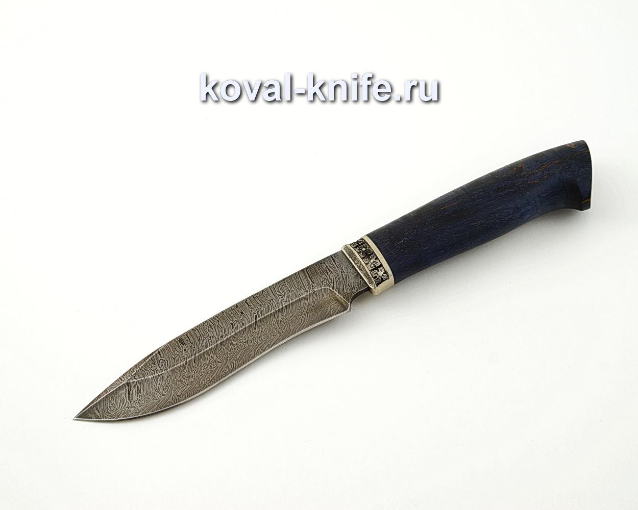 Нож Орлан из дамасской стали с рукоятью из стабилизированной карельской березы, притин мельхиор A569