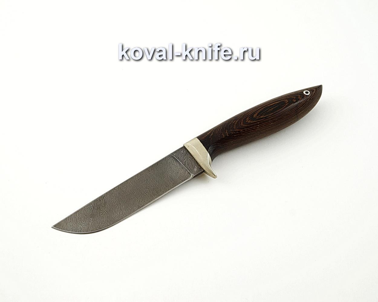 Нож Белка из дамасской стали с рукоятью из венге, гарда мельхиор A570