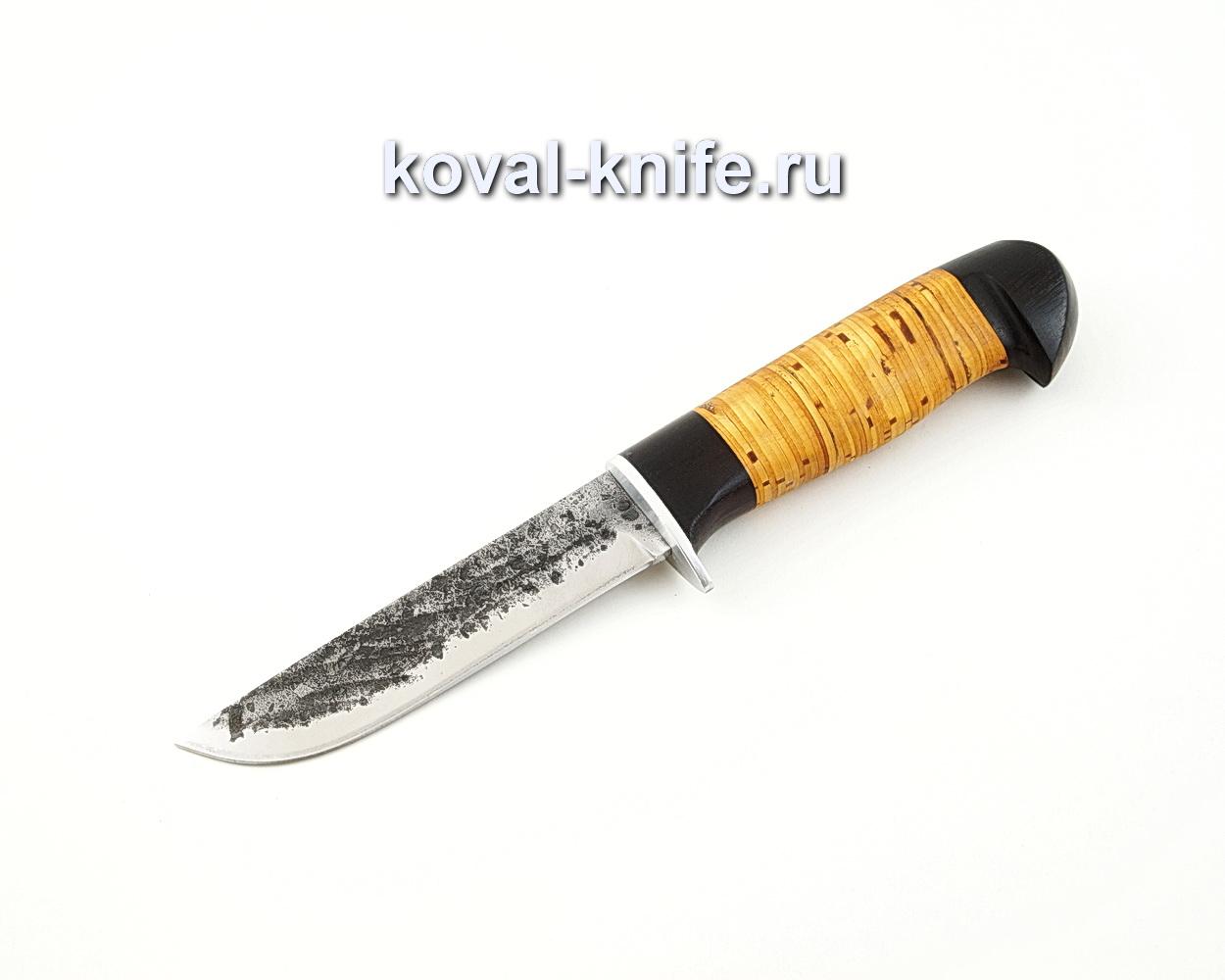 Нож Белка из кованой стали 9ХС с рукоятью из бересты и черного граба A571