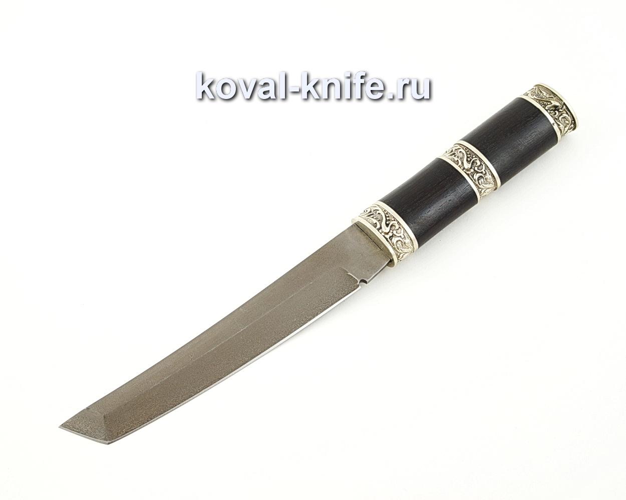 Нож Танто из кованой стали Х12МФ с рукоятью из черного граба, литье мельхиор A572