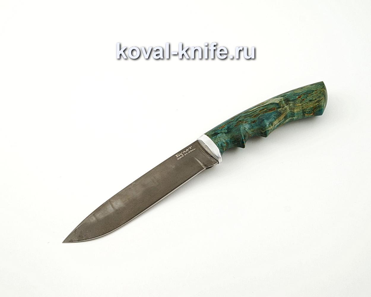 Нож Олимп из булатной стали с рукоятью из стабилизированной карельской березы, литье мельхиор A574