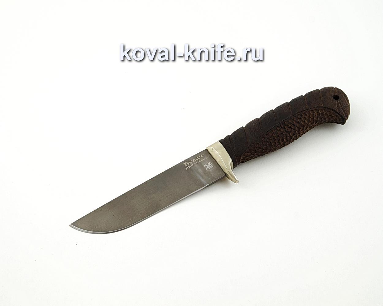 Нож Белка из булатной стали с резной рукоятью из граба и литьем из мельхиора A577