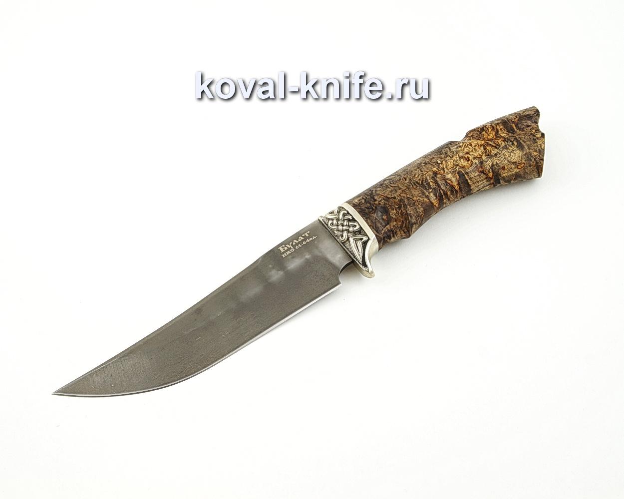 Нож Клыч из булатной стали с рукоятью из стабилизированной карельской березы, гарда мельхиор A578