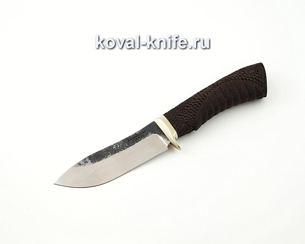 Нож Кабан из кованой стали 110Х18 с резной рукоятью из граба и гардой из мельхиора A583