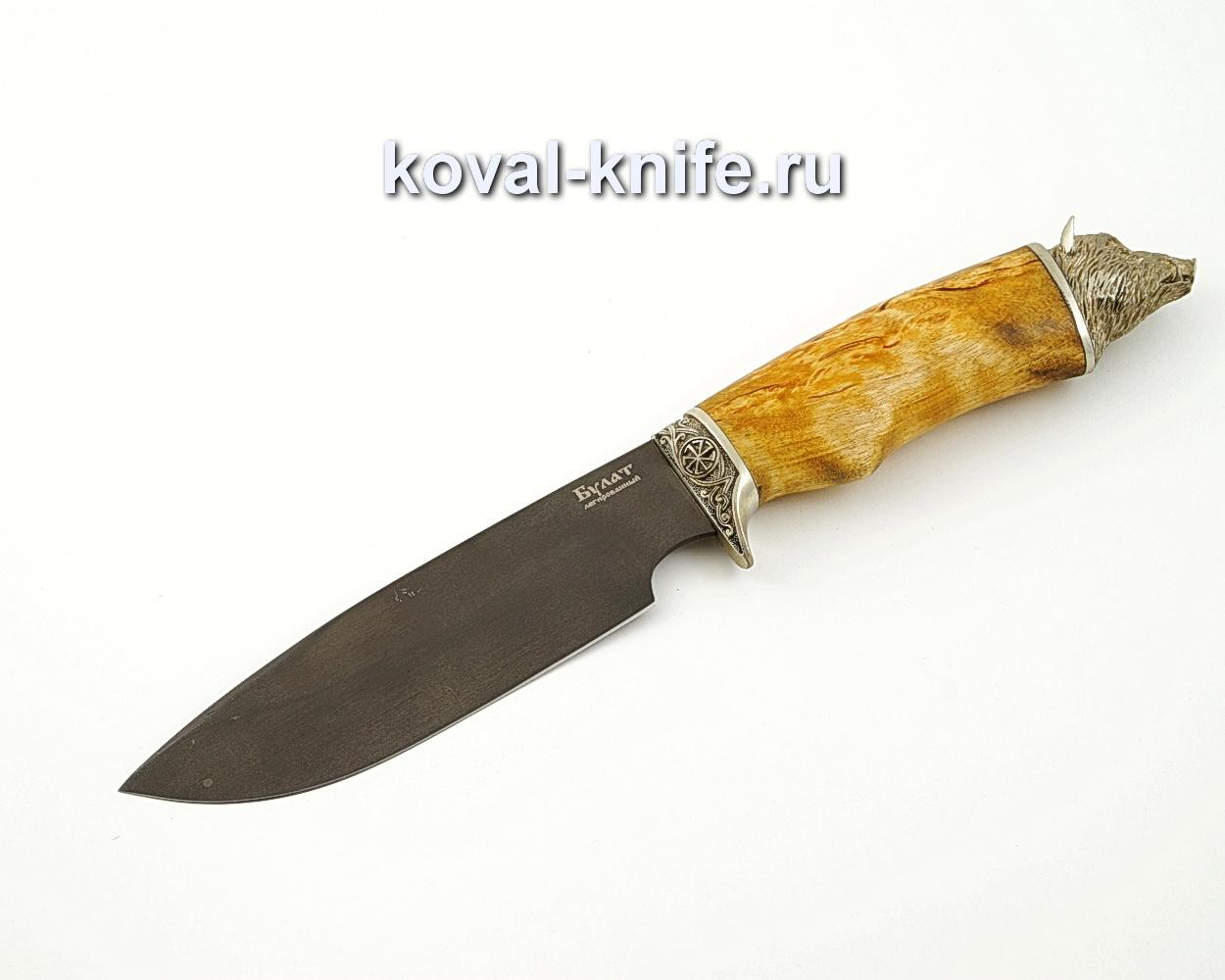 Нож Барс из булатной стали с рукоятью из стабилизированной карельской березы и литьем из мельхиора A584