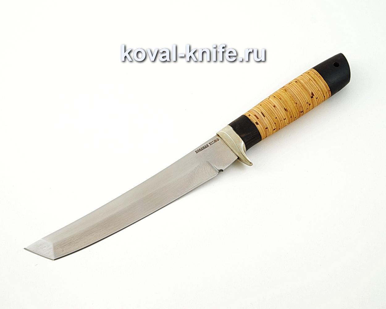 Нож Танто из кованой стали Х12МФ с рукоятью из бересты и черного граба A585