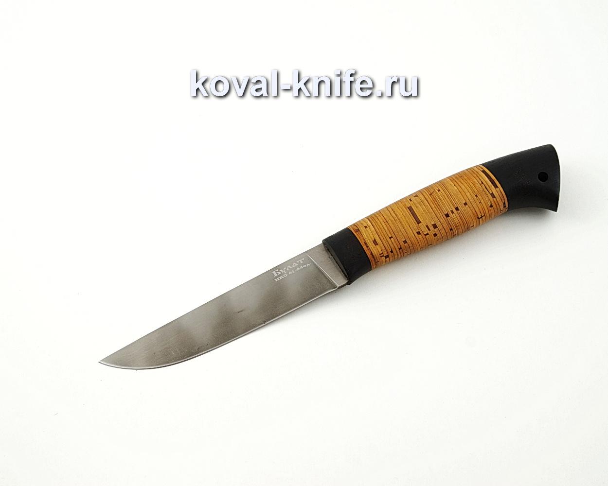 Нож Белка из булатной стали с рукоятью из бересты и граба A590