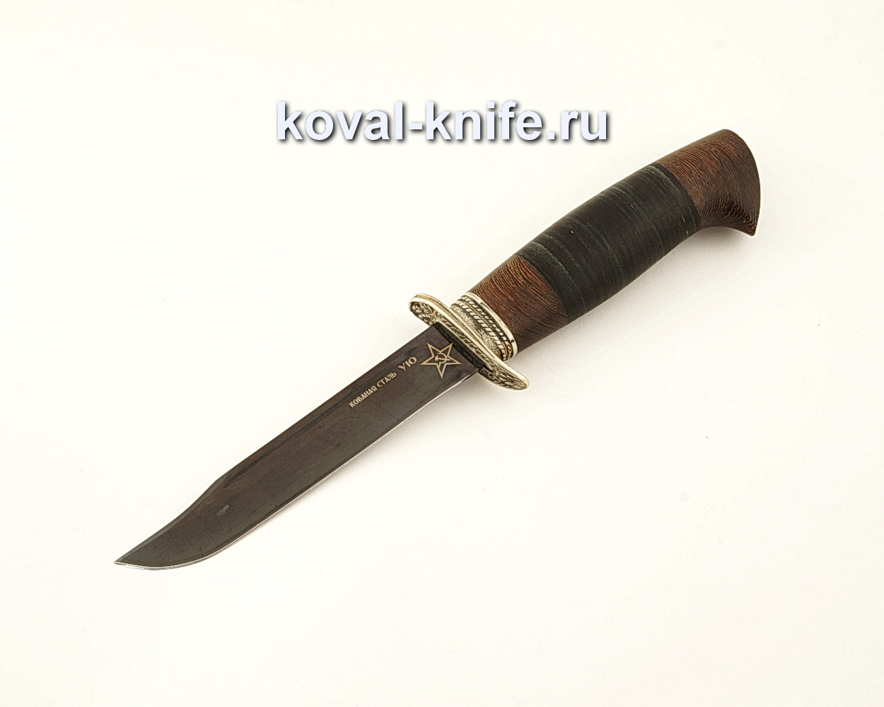 Нож Штрафбат — реплика ножа НР40 из кованой стали У10 с рукоятью из кожи  A619