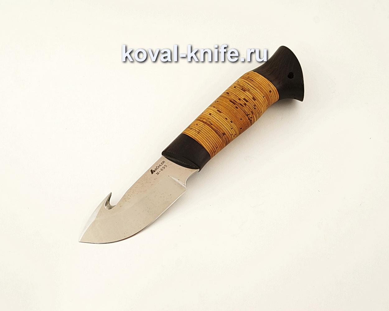 Нож Стропорез из нержавеющей стали Bohler N695 с рукоятью из бересты  A626