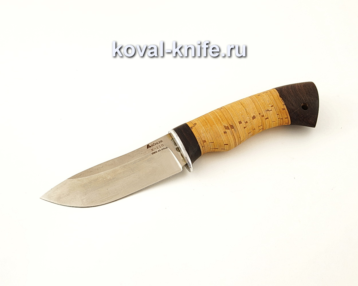 Нож Кабан из стали Bohler K110 с рукоятью из бересты  A628
