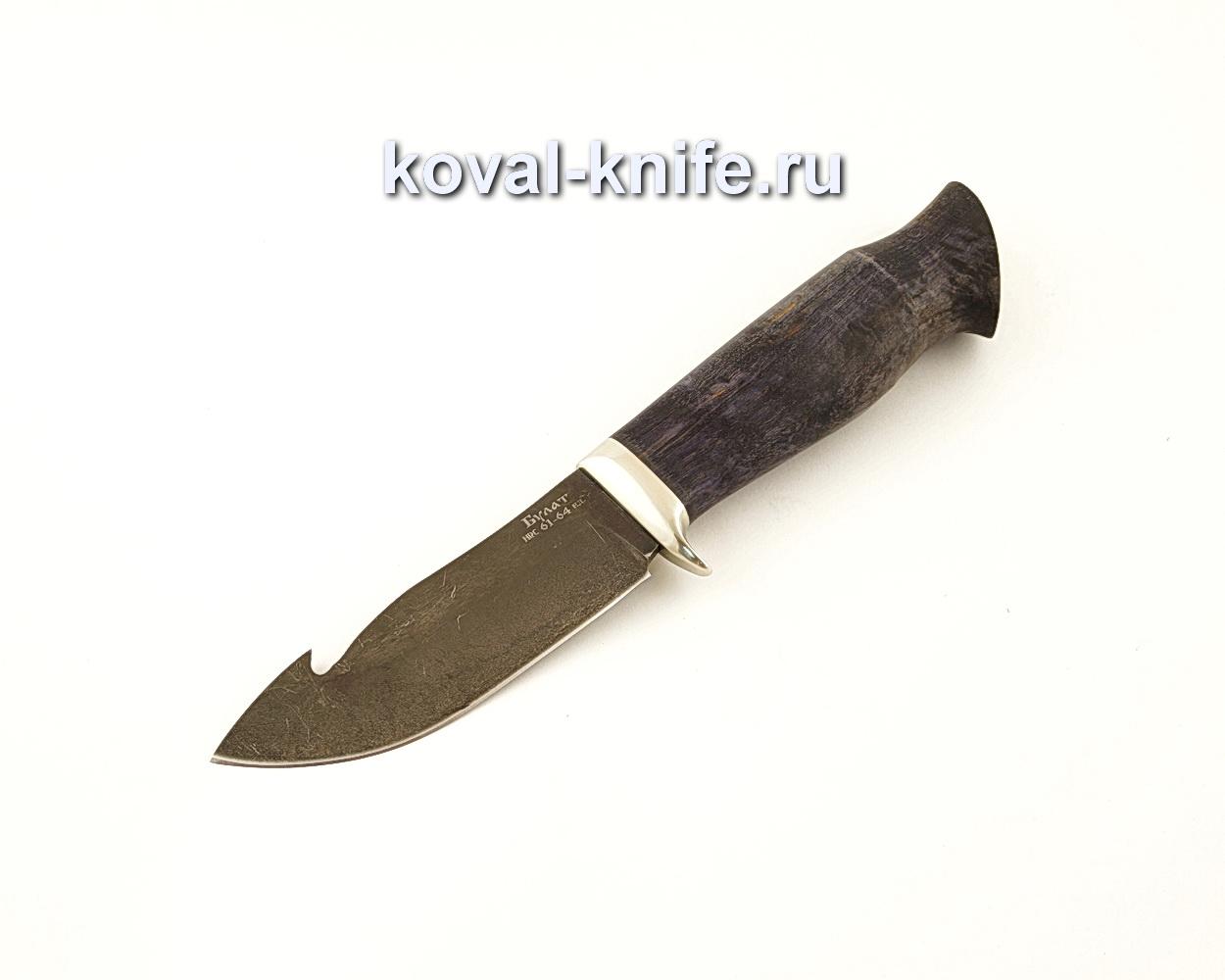 Нож Стропорез из булатной стали с рукоятью из стабилизированной карельской березы  A629