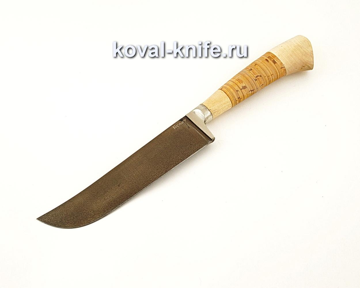 Нож Узбек — пчак из булатной стали с рукоятью из бересты  A633