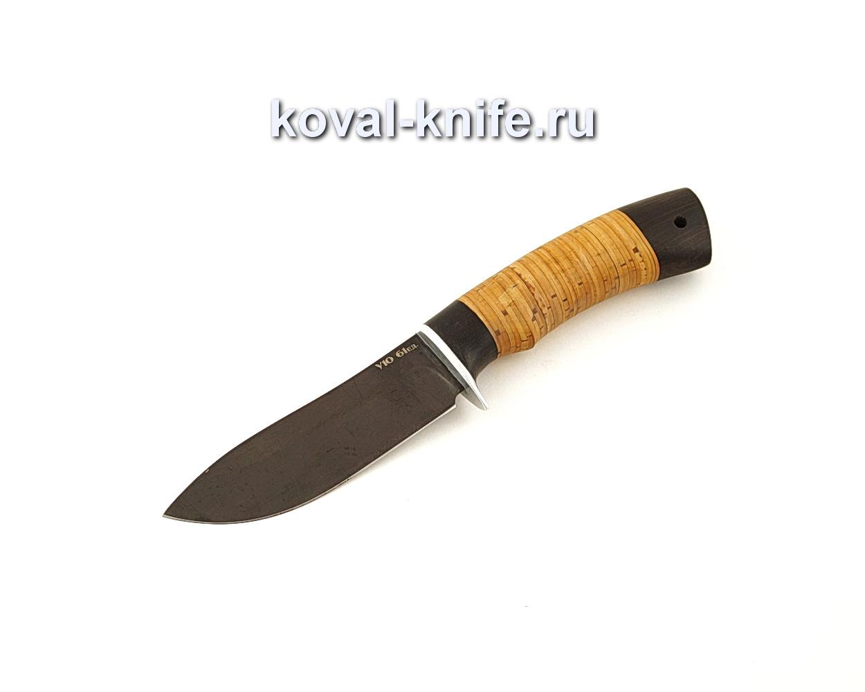 Нож Кабан из кованой стали У10 с рукоятью из бересты и граба  A644