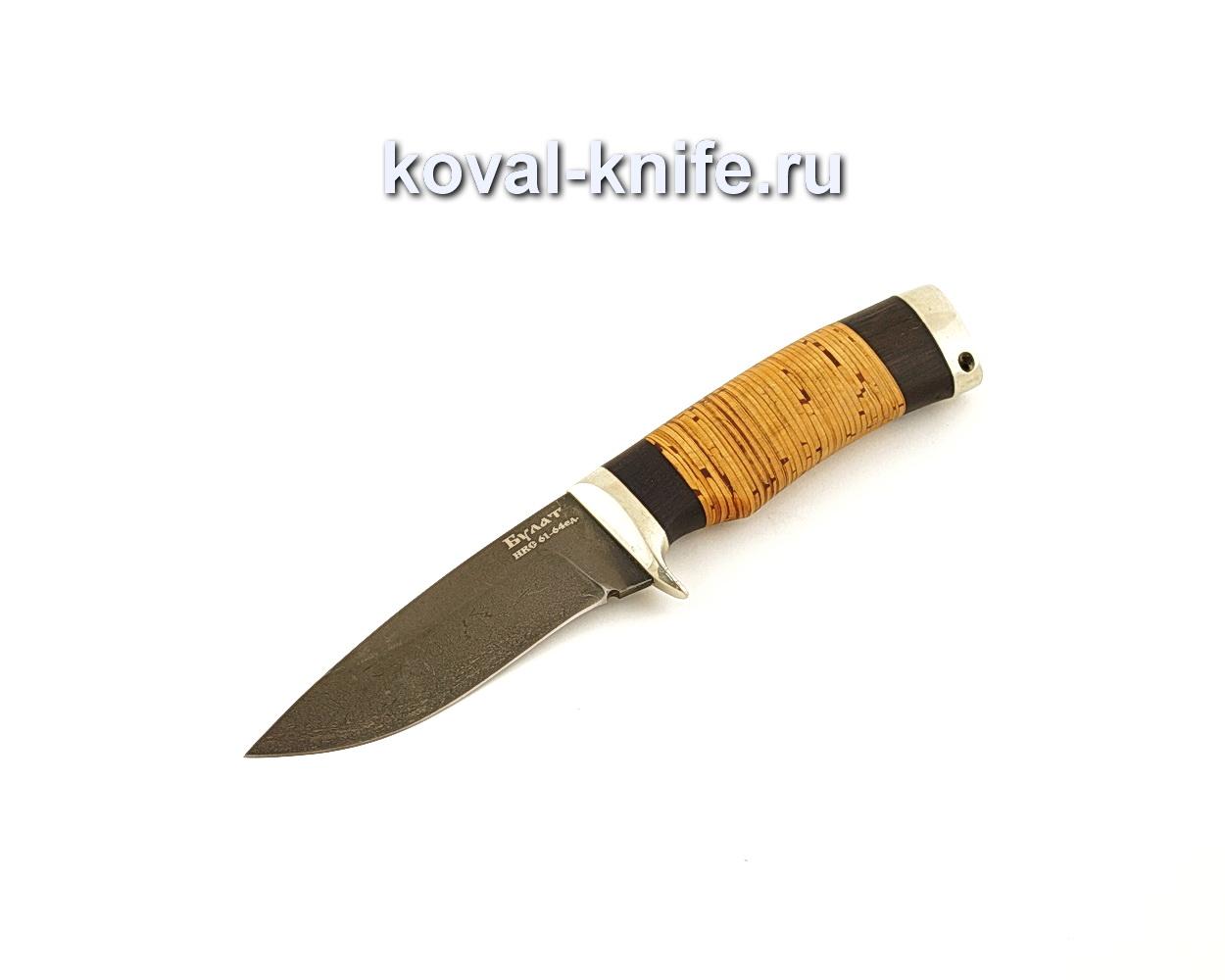 Нож Сапсан из булатной стали с рукоятью из бересты  A648