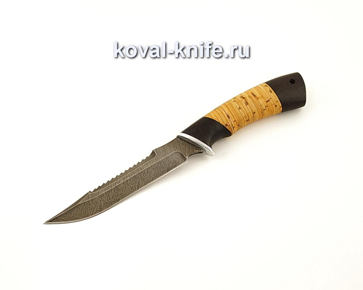 Нож Рыбацкий из дамасской стали с рукоятью из бересты и граба  A661