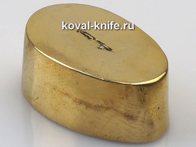 Литье для ножа 651 притин гладкий.Высота овала со стороны рукояти 27мм