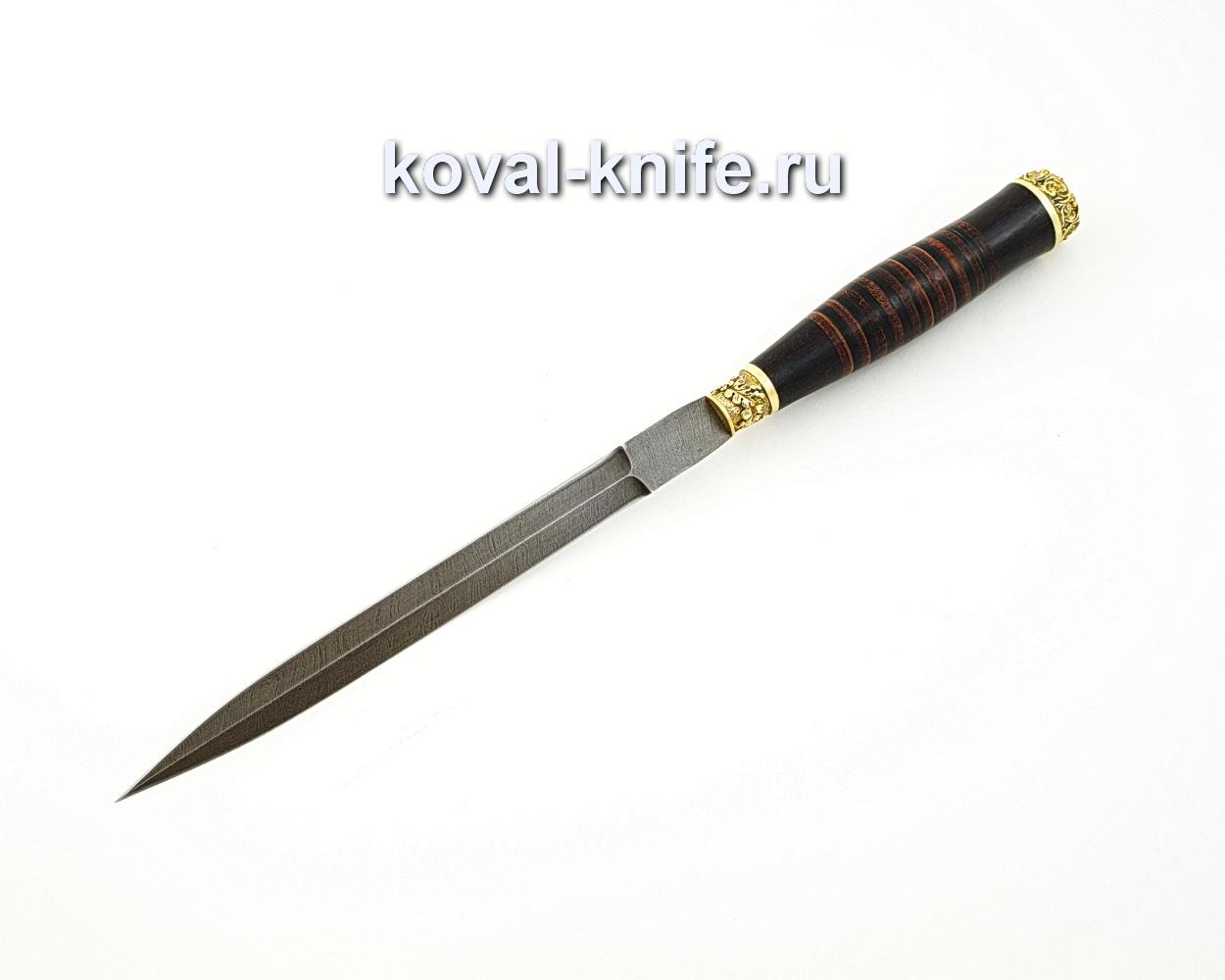 Нож Стилет из дамасской стали (рукоять кожа, литье латунь) A583