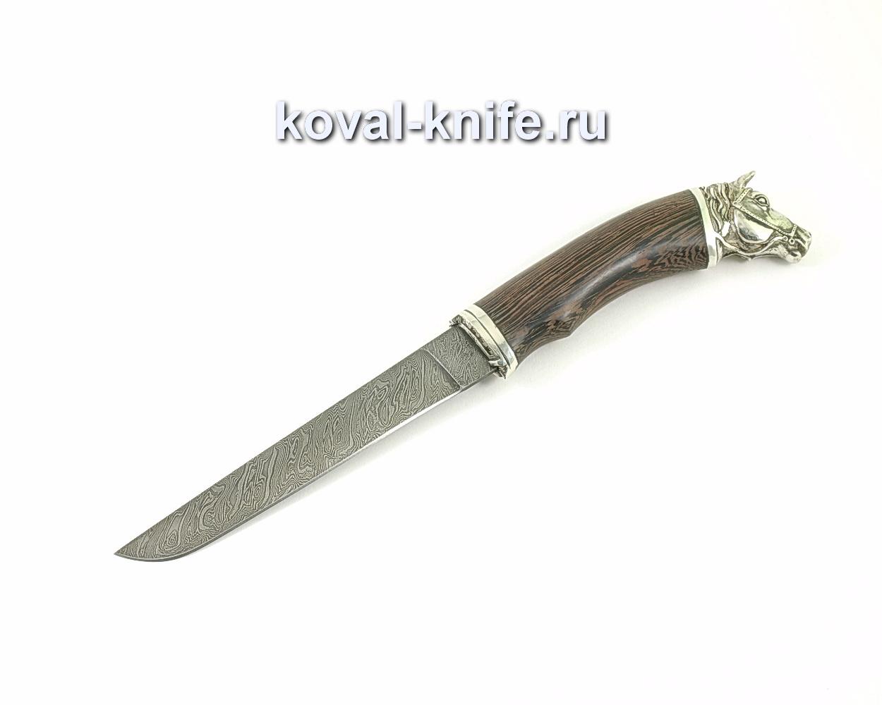 Нож из дамасской стали Волк (венге, литье мельхиор) A324