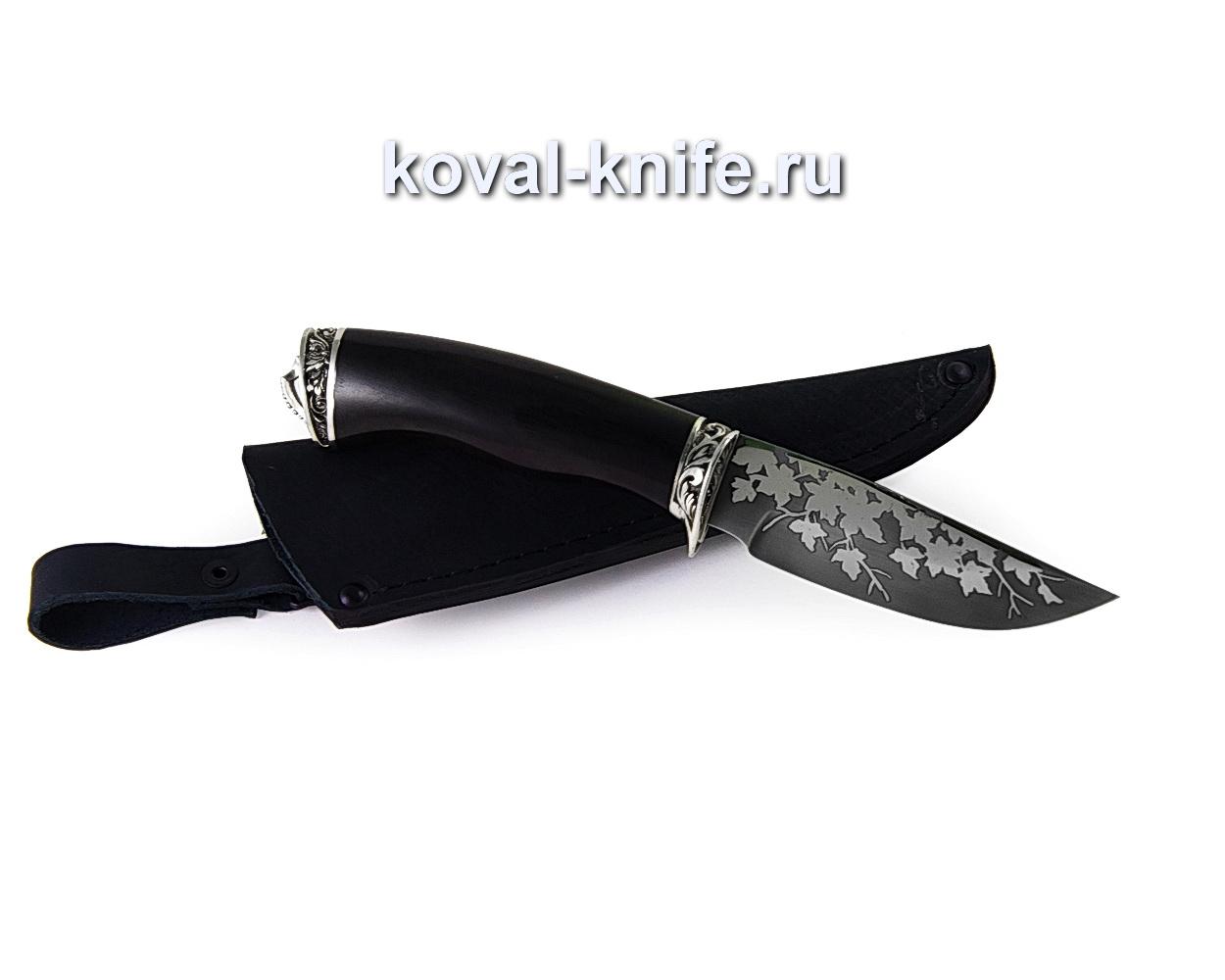 Нож Норвег из стали 95х18 (рукоять граб, гарда и пятка-мельхиор, травление) A350