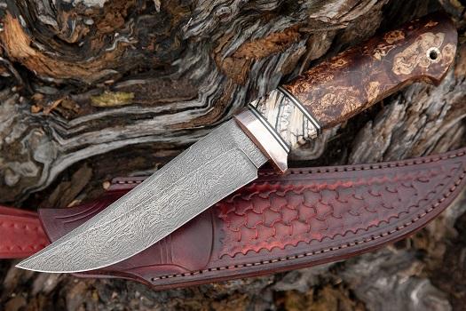 Нож Клыч из булатной стали Аносова (рукоять зуб мамонта, стабилизированная карельская береза, литье мельхиор) A697