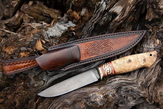 Нож Белка-2 из Булатной стали Аносова (рукоять рог лося, стабилизированная карельская береза, литье мельхиор)