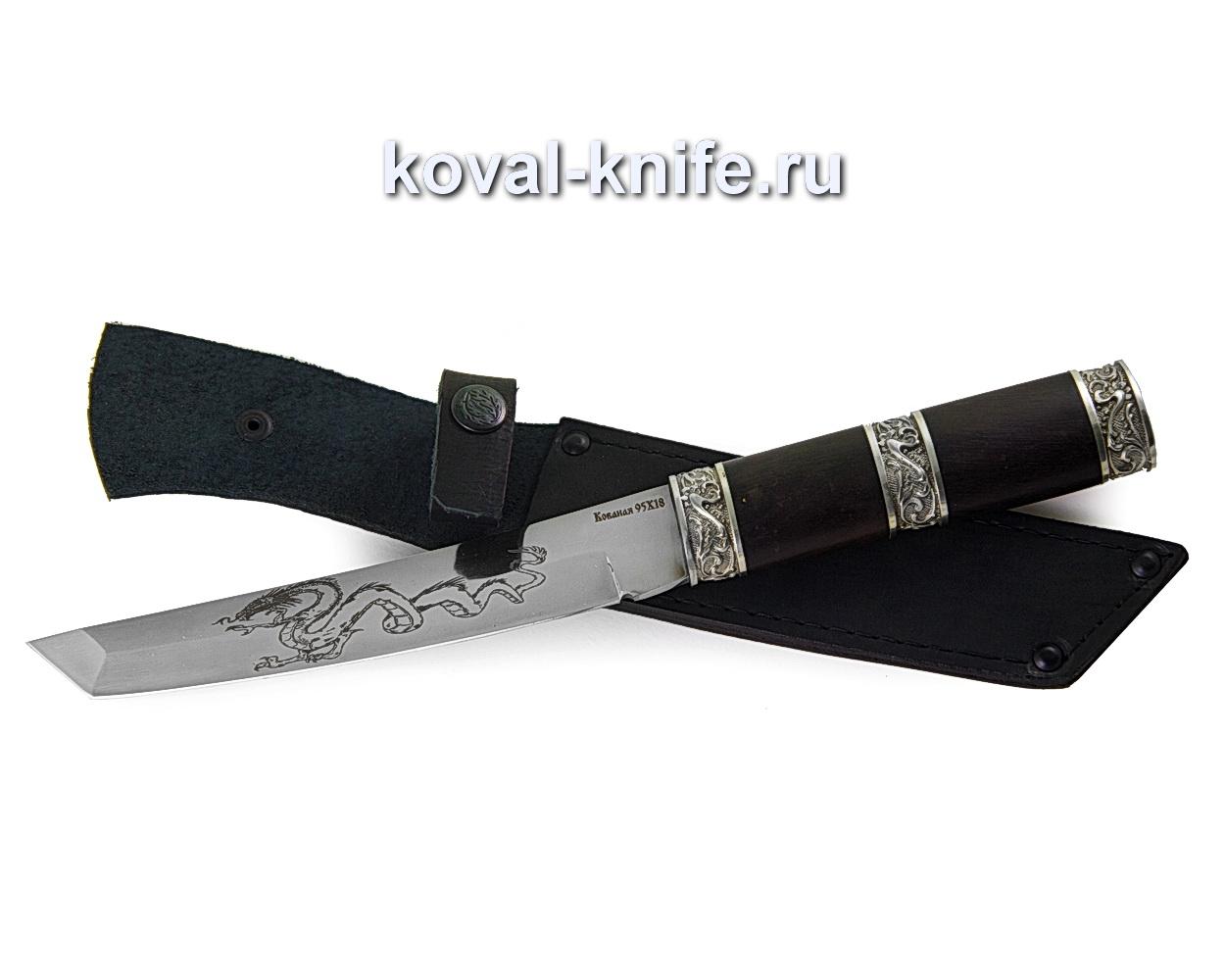 Нож Танто из стали 95х18 с травлением (рукоять граб, литье мельхиор) A353
