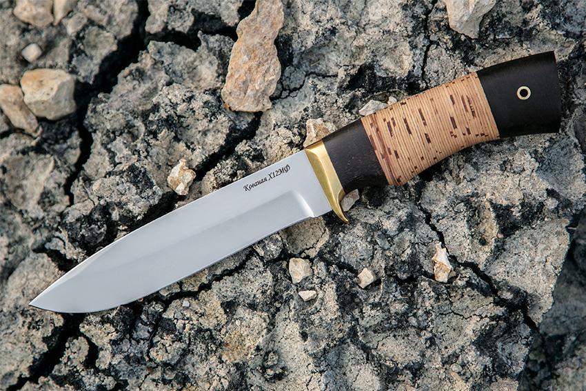 Нож Олимп из стали Х12МФ (рукоять – черный граб, береста) A709