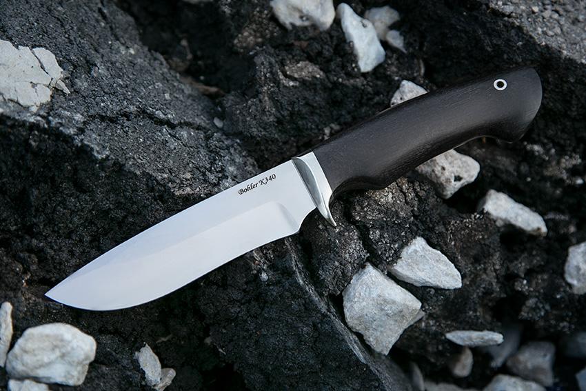 Нож Орлан из стали K-340 (рукоять – черный граб, литье – мельхиор) A718