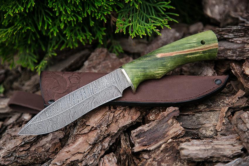 Нож Орлан из дамасской стали (рукоять – стабилизированная карельская береза) A703