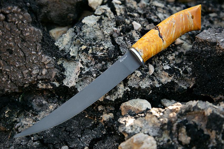Филейный нож из булатной стали  (рукоять – стабилизированная карельская береза) A714